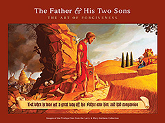 The Father and His Two Sons: The Art of Forgiveness, art & writings inspired by the parable of the Prodigal Son from the Larry & Mary Gerbens Collection - introduction by Larry Gerbens, foreword by Rev. Scott Hoezee & commentary by Nicholas Wolterstorff. The Father and His Two Sons: Images Inspired by The Prodigal Son is for sale from Eyekons Books. Artists represented in The Father and His Two Sons are Rembrandt van Rijn, John August Swanson, J.J. Tissot, Laura James, Steve Prince, Thomas Hart Benton, Jesus Mafa, Karl Kwekel, Julie Quinn, Robert Barnum, Matt and Amy Vander Pol, Joel Tanis, Jeff Condon, Athanasios Clarke, Charles Smalligan, Elmer Yazzie, Jon McDonald, Jonathan Quist, Edgar Boeve, Carol McCrady and others.