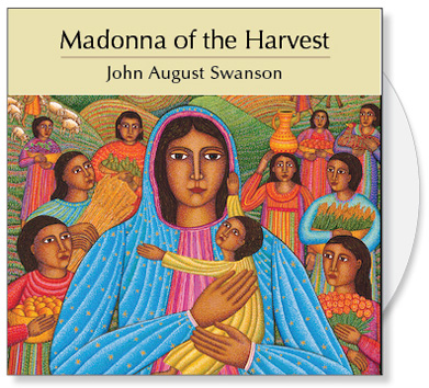 The Madonna of the Harvest CD is a collection of images from the serigraph Madonna of the Harvest by John August Swanson. The CD contains a full image and 15 detail images of the John Swanson serigraph Madonna of the Harvest. The art is offered to churches for bulletin covers, sermon illustrations, Powerpoint images and Bible study. The Madonna of the Harvest CD Collection by John Swanson features a very earthy and human portrayal of Mary and the baby Jesus along with images that celebrate the planting, growing and harvesting of food.
