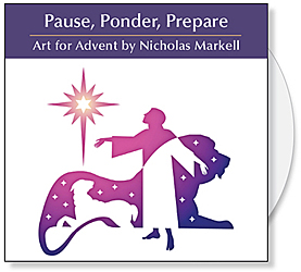 Pause, Ponder, Prepare CD by Nicholas Markell - Black and white & color graphic illustrations for Church Powerpoint and Bulletin Covers.