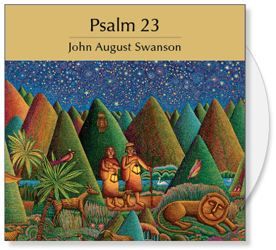 The Psalm 23 CD is a collection of images from the serigraph Psalm 23 by John August Swanson. The CD contains a full image and 24 detail images of the John Swanson serigraph Psalm 23. The art is offered to churches for bulletin covers, sermon illustrations Powerpoint images and Bible study. The Psalm 23 CD Collection by John Swanson features a full image of the serigraph and 24 detail images that creatively illustrate this insightful and poetic Psalm of David.