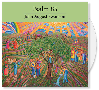 The Psalm 85 CD is a collection of images from the serigraph Psalm 85 by John August Swanson. The CD contains a full image and 24 detail images of the John Swanson serigraph Psalm 85. The art is offered to churches for bulletin covers, sermon illustrations, Powerpoint and Bible study. The Psalm 85 CD Collection by John Swanson features a full image of the serigraph and 24 detail images that illustrate this Psalm about hope, justice, truth and love.