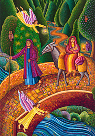 Flight Into Egypt by John Swanson for Bulletin Covers, Powerpoint and Web, unique images for Church Bulletins