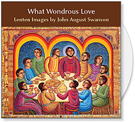 What Wondrous Love CD by John Swansons offers illustrations for What Wondrous Love - Holy Week in Word & Art, a DVD produced by Candler Seminary. The DVD features art by John Swanson along with commentary by Candler faculty. What Wondrous Love CD by John Swanson features 19 original serigraphs & paintings plus 71 detail images to illustrate the Lenten meditations on the DVD and for Lenten & Easter bulletin covers, powerpoint & web. What Wondrous Love CD of Lenten Images by John Swanson is available from Eyekons Church Image Bank.