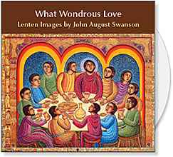 What Wondrous Love CD of Lenten images by John August Swanson provides illustrations for What Wondrous Love - Holy Week in Word & Art, a DVD produced by Candler Seminary. What Wondrous Love CD by John Swanson offers 19 images of original serigraphs & paintings plus 71 detail images to illustrate the Lenten meditations on the DVD and for Lent & Easter Church Bulletin Covers, Powerpoint Presentations & Websites. What Wondrous Love CD of Lenten Art by John Swanson is available from Eyekons Church Image Bank.