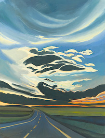 "The painting ""Alberta, Late Light"" by Chris Overvoorde is a dramatic evening landscape of the prairie of Alberta, Canada. ""Alberta, Late Night"" is part of a large series of landscape paintings Chris Overvoorde has done that were inspired by the vast beauty of the Alberta prairie. The painting ""Alberta, Late Night"" by Chris Overvoorde is for sale from Eyekons Gallery - a source for Christian art, religious art and biblical art."