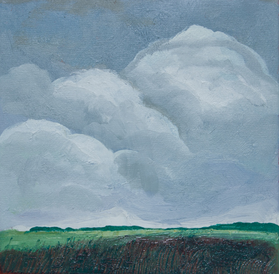 Chris Stoffel Overvoorde painting, Clouds above Green Fields, Manitoba, for sale from Eyekons Gallery