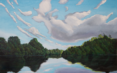 Chris Stoffel Overvoorde painting, Evening on The Grand, for sale from Eyekons Gallery