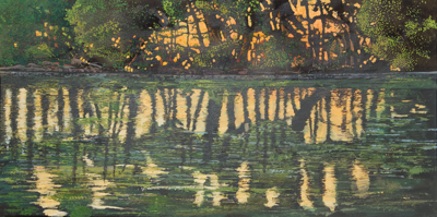 Chris Stoffel Overvoorde painting, Grand River Reflections, for sale from Eyekons Gallery