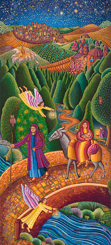 The serigraph Flight Into Egypt by John August Swanson portrays the New Testament story of Mary, Joseph and the baby Jesus fleeing King Herod and the Massacre of the Innocents for the safety of Egypt as told in Matthew 2:13-15.