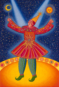 "The serigraph ""Star Clown"" by John August Swanson portrays a magical jester showered in twin beams of light. He holds aloft the moon and the sun - grasping both, yet bound by neither. Like the artist, he straddles the earth and the heavens becoming a true healer, a channel of energy from the divine. ""Star Clown"" by John August Swanson is for sale from Eyekons Gallery - a source for Christian art, religious art and biblical art."