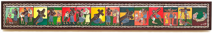 Laura James Stations of the Cross paintings, Ethiopian Iconography artist, church bulletins & powerpoint images available at Eyekons.com