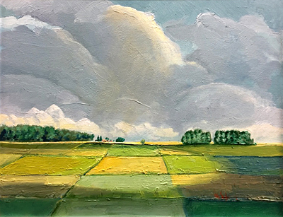 Chris Stoffel Overvoorde painting, Sun-Lit Landscape for sale from Eyekons Gallery