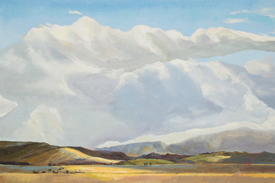 Chris Stoffel Overvoorde painting, Light on the Foothills, Alberta, for sale from Eyekons Gallery