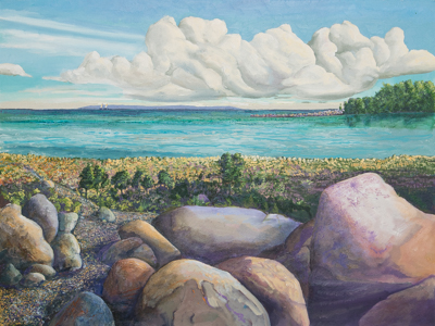 Chris Stoffel Overvoorde painting, Northport Point, for sale from Eyekons Gallery