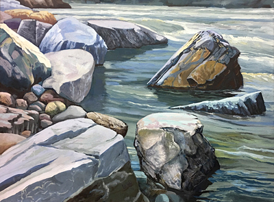 Chris Stoffel Overvoorde painting, Old Man River Rocks, for sale from Eyekons Gallery
