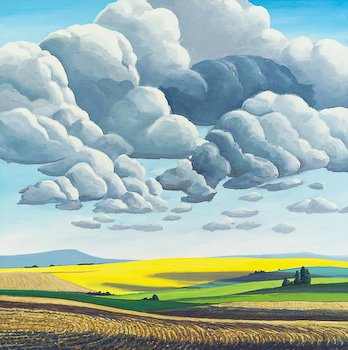 Cardston Plowed Fields, painting by Chris Stoffel Overvoorde for sale from Eyekons Gallery