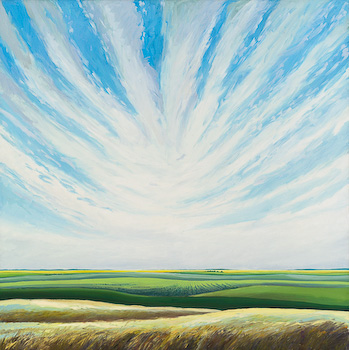 Milk River Wind Streaks, painting by Chris Stoffel Overvoorde for sale from Eyekons Gallery