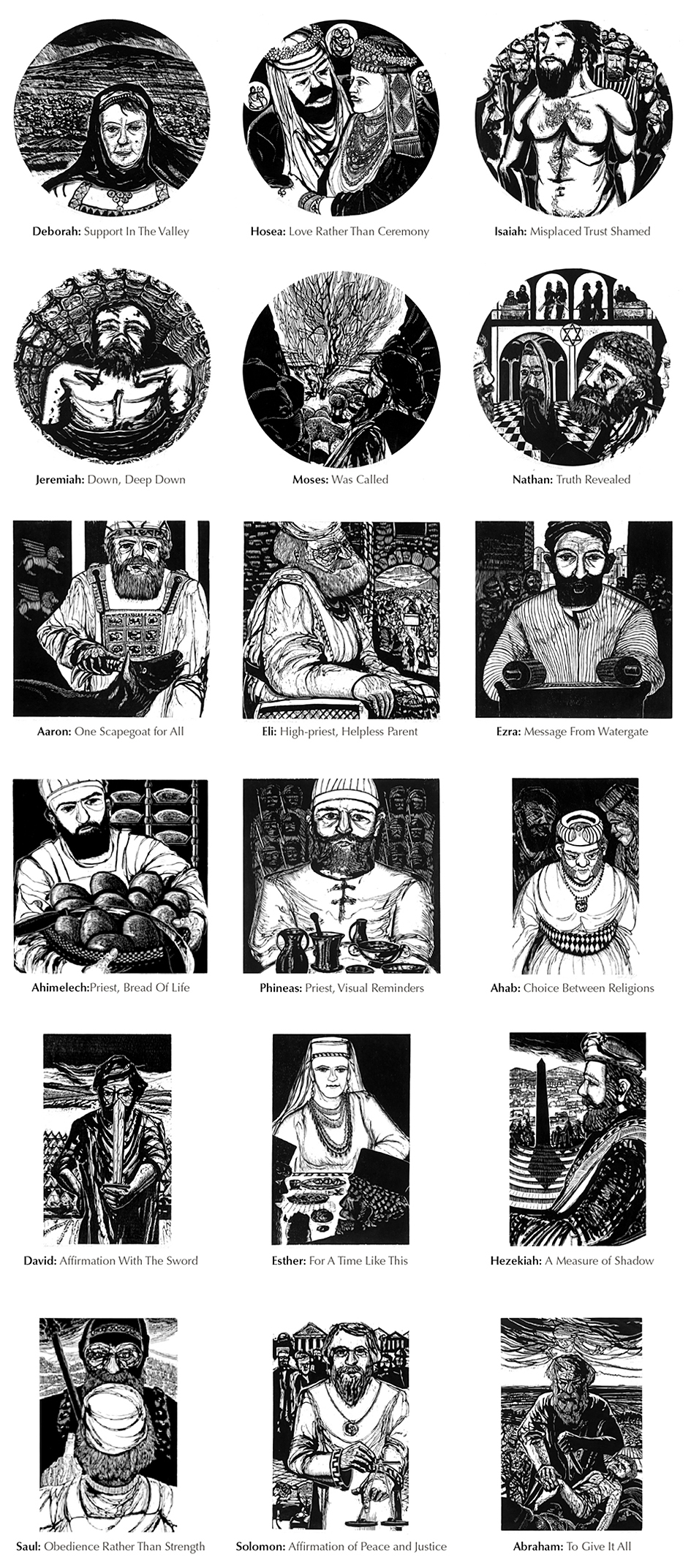 Prophet Priest & King Collection, A Series of Woodcuts by Chris Stoffel Overvoorde available at Eyekons