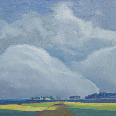 Chris Stoffel Overvoorde painting, The Farm, for sale from Eyekons Gallery