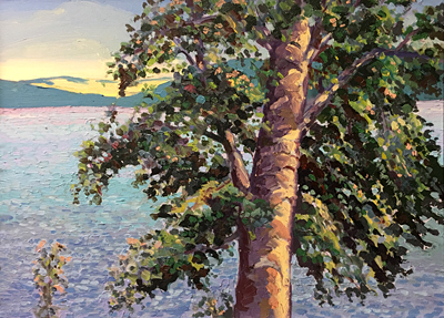 Chris Stoffel Overvoorde painting, Tree by Lake, for sale from Eyekons Gallery