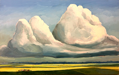 Chris Stoffel Overvoorde painting, Twin Clouds, for sale from Eyekons Gallery