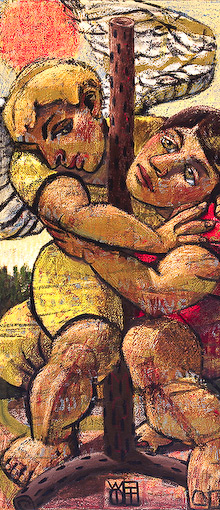 The painting Aquele Abraco by Wayne Forte portrays the Bible story of Jacob Wrestling with the Angel of God as told in Genesis 32:22-32. The title Aquele Abraco comes from a Brazilian song and means
