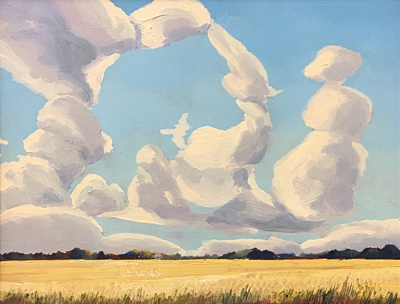 Chris Stoffel Overvoorde painting, Wheatfield Study, for sale from Eyekons Gallery