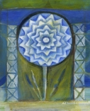 Ann Willey, Blue Flower Icon pastel, painting, link to Artist Home Page