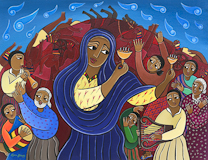 Laura James, Miriams Song Make a Joyful Noise, Ethiopian Iconography painting, link to Artist Home Page
