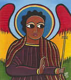 Laura James, Guardian Angel I Ethiopian Iconography painting, link to Artist Home Page