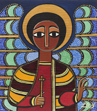 Laura James, Guardian Angel II Ethiopian Iconography painting, link to Artist Home Page