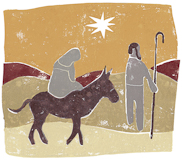 Scott Laumann, Mary and Joseph, Block Print, link to Artist Home Page