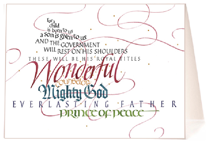 Tim Botts - calligraphy - Isaiah 9:6 Christmas Card