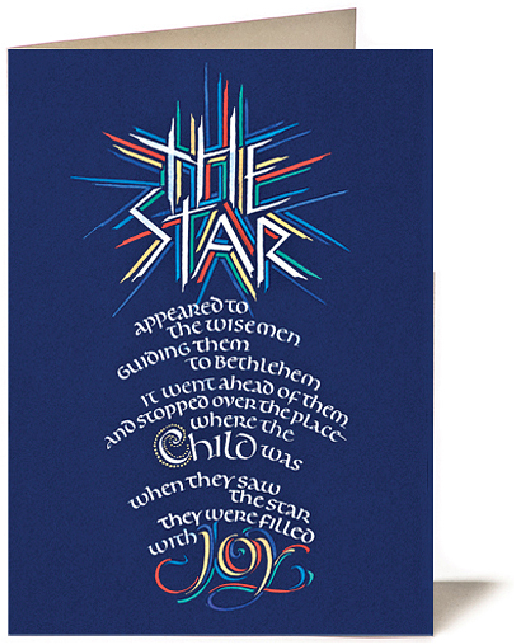 Tim Botts - calligraphy - Matthew 2 9-10 Christmas Card, The Star