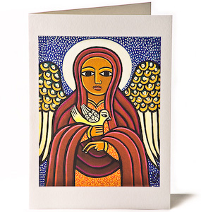 Guardian Angel & Dove, Giclee Christmas Card by Laura James