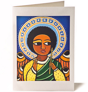 Guardian Angel with Halo, Giclee Christmas Card by Laura James