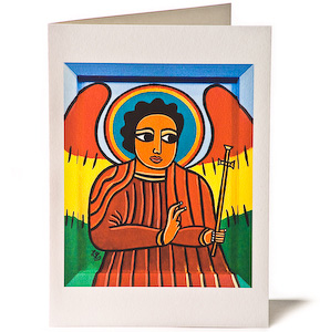 Guardian Angel with Cross, Giclee Christmas Card by Laura James