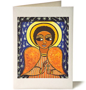 Guardian Angel - Stars, Giclee Christmas Card by Laura James