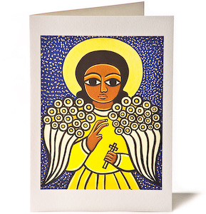 Guardian Angel with White Wings, Giclee Christmas Card by Laura James