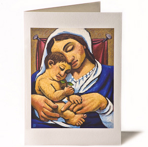 Madonna & Child: Branch, Giclee Christmas Card by Wayne Forte
