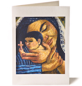 Madonna & Child: Staring at the Cross, Giclee Christmas Card by Wayne Forte
