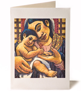 Madonna & Child with Brown Cross, Giclee Christmas Card by Wayne Forte