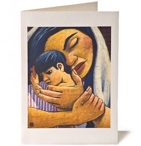 Madonna & Child: Red Cross, Giclee Christmas Card by Wayne Forte