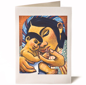 Madonna & Child: Wooden Cross, Giclee Christmas Card by Wayne Forte