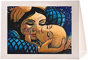 Madonna & Child in Blue, Giclee Christmas Card by Wayne Forte