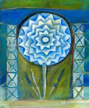 Blue Flower Icon Giclee print, by Ann Willey. Affordable Fine Art Reproductions at Eyekons.com