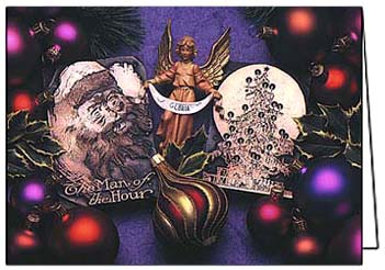 Santa, Angel & Tree Christmas Card by Phil Schaafsma