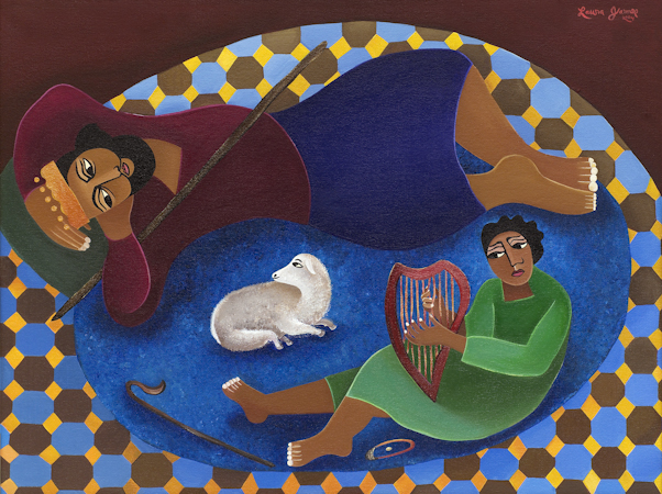 David Plays for Saul, by Laura James, Ethiopian Iconographer, Giclee print