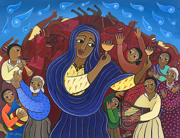 Miriam's Song: Sing a Joyful Noise Unto the World, by Laura James, Ethiopian Iconographer, Giclee print