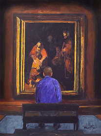 The painting of Larry Gerbens & Rembrandt by Don Prys is for sale as a fine art giclee print from Eyekons. The painting portrays Larry Gerbens contemplating Rembrandts famous painting of The Prodigal Son. It was inspired by the writings of Henri Noowen in Return of the Prodigal Son. Eyekons offers this and other fine art giclee prints of original art from The Father and His Two Sons - Images Inspired by the Prodigal Son.